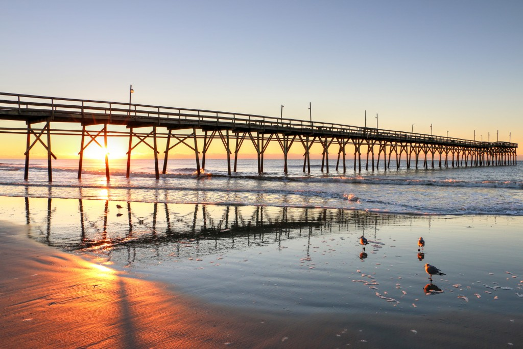 Sunset Beach Pier Sunrise Credit