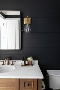 Benjamin Moore Cheating Heart Shiplap Bathroom With Louvered White Oak Vanity 4